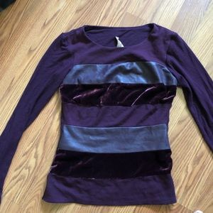Eggplant long sleeve shirt with suede and velvet